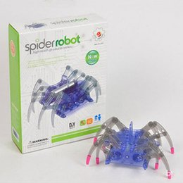 Wholesale Small Plastic Robot Toy - Wholesale-Toys kids educational creative high-tech small production experiment set electric solar spider robot diy prank toys