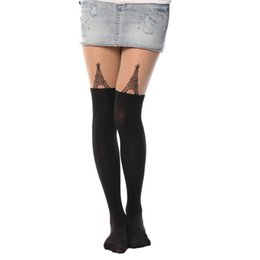 Wholesale Tatoo Printing - Wholesale- Fashion girl Sexy Lovely Cat Tatoo 20 Style Sheer Pantyhose Mock Stockings Tights 90cm