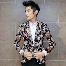 polka dot buttons großhandel Rabatt Großhandels- Maillot Homme koreanische Art- und Weisemannblumeblazer-Tupfen-dünne Blazer-Jacken-eine Knopfblazer masculino beiläufige männliche Jacke