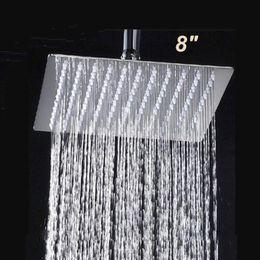 Ücretsiz Nakliye 8 Inç Paslanmaz Çelik Kare Duş Başlığı Üzerinde kafa Ultra Ince Üst Yağış Duş Püskürtme Başkanı Krom cheap shower tops nereden duş başları tedarikçiler