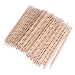 Wholesale Orange Tip - 1 Pack Nail Art Orange Wood Sticks Cuticle Pusher Remover Spade Shape Sharp Tip Two-End Manicure Nails Tool Wholesale free ship