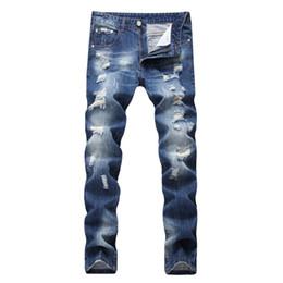 Wholesale Club Pants - Wholesale- NEW Night Club Button Biker Jeans Men Hole Denim Blue Ripped Jeans Distressed Trousers 28-42 High Quality Cotton Plus Pants