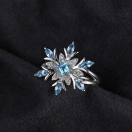 Wholesale Swiss Blue Topaz - JewelryPalace Snowflake Genuine Swiss Blue Topaz Ring Solid 925 Sterling Silver Jewelry Fashion Ring for Women Christmas gift