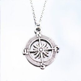 Wholesale Compass Jewelry For Men - Wholesale- NK809 Wholesale Exo Collares New Bijoux Men Pendant Love Vintage Silver Plated Compass Necklace For Women Jewelry 2016