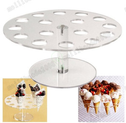 Wholesale Ice Cream Stands - 2017 NEW Ice Cream Cone Holder Cake Stand 16 Holds Weeding Party Buffet Display Shelf 250mm Kitchen Dining Bar Bakeware Stands MYY