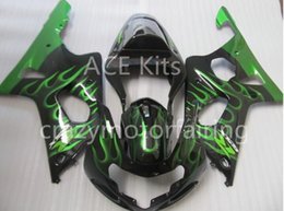 Wholesale Green Flame Fairings Kit Gsxr - 3 Gifts New 100% Fit Aftermarket Fairing kit for SUZUKI GSXR1000 GSX-R1000 GSXR 1000 K2 00 01 02 2000 2001 2002 Fairings Black Green flame