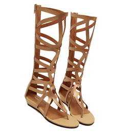 Wholesale Leather Sandals Hole - women sexy summer knee high boots gladiator holes cut out open toe sandals party clubwear shoes pumps flat heels fashion shoes