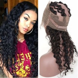 Wholesale Russian Deep Wave Hair - Deep Wave 360 Lace Band Frontal With Baby Hair Russian Virgin Human Hair 360 Lace Band Frontal Free Three Part