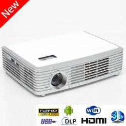 Wholesale Ps Phone - Wholesale-Android 4.4 Wifi DLP 3D HD Projector 1500 Lumens With Bluetooth USB3.0 LED Beamer Compatible For Smart Phone Xbox PS