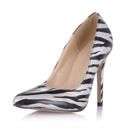 Wholesale cheap silver heels - Zebra Women Pumps 2017 Slip On Ladies Party Shoes High Thin Heels Pointed Toe Cheap Modest Summer Spring Shoes Real Image Dress Shoes