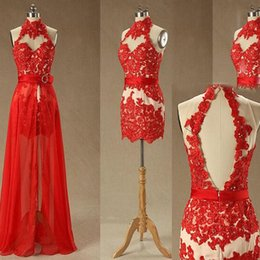 Wholesale High Neck Back Lace Dress - Gorgeous Short Mini High Neck Prom Dresses with Removable Skirt Sexy Open Back Sleeveless Beads Crystals Red Lace Appliques Party Gowns