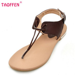 Wholesale Soft Natural Rubber - Wholesale-Women's Real Natural Genuine Leather Flat Sandals Bohemia Slippers Summer Beach Sandals Fashion Ladies Shoes Size 34-39 R5744
