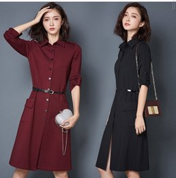 Wholesale Pencil Skirts Dresses Office - Womens autumn new paragraph a word dress commuter OL shirt pure color wild skirt ladies office women dress free belt #1105#
