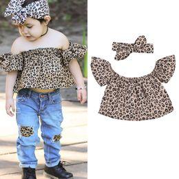 Wholesale Leopard Print Kids Sets - INS little kids fashion outfits girls fly sleeve dew shoulder leopard print tops+headband 2pcs sets 2017 new summer children clothes C0909