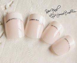 Wholesale Fake Nails Toes - Wholesale- 24Pcs Full Nail French Tips Elegant Natural Finger Toe False Fake Art Cover Manicure