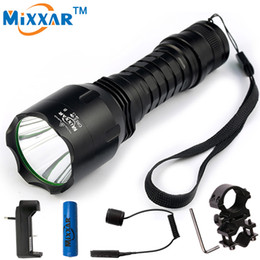 Wholesale Gun Mounted Flashlight - Mixxar C8 XM-L2 LED Flashlights Cold Natural White Lanterna Tactical LED Torch with Remote Switch Gun Mount for Hunting