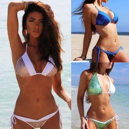 Mulheres biquíni swimwear Feminino Sequined Halter Splicing Swimsuit bating terno Duas Peças trikini plavky biquini monokini de