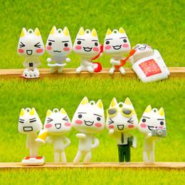 10pcs Mini Expression Smile Cat Figurine Miniature Tiny Landscape Piante grasse Decor Fairy Garden Terrarium Fornitori da