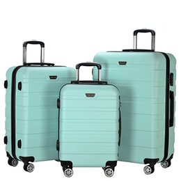 """Wholesale 28 Wheels - 3 Piece 20"""" 24"""" 28"""" Wheel Spinner Luggage Sets Hardside Suitcase Travel Suitcase ABS School Rolling Trolley with Lock Light Green"""