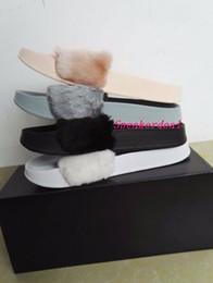 Wholesale Women Flat Slipper Sandal - (Send With Box and Dust Bags) Rihanna fenty Slippers,Rihanna Fenty LEADCAT Fur Slide Slippers Black Slides Women Sandals Rihanna fenty Slide