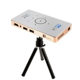 Wholesale Dlp Projector Android - C6 mini DLP projector Android 5.1 quad core TV Box dual band 5Ghz HD Bluetooth HDMI portable Media player with 5000mAh battery