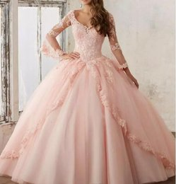 Wholesale Maternity T Shirt Baby - 2018 Sheer Long Sleeve Baby Pink Ball Gown Quinceanera Dresses V Neck Lace Lace up Long Prom Sweet 16 Gowns Organza Quinceanera Dress