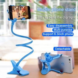 Wholesale Clips Computer - Mobile phone stand computer stand desktop shelf lazy bedside stand computer phone accessories strong clip 360 degree rotation cheap gift DHL