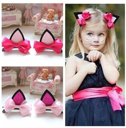Wholesale Wholesale Jewelry Pink Bow - Girl's Cute cat ears bow Barrettes girl bowknot Hairpins headdress children's hair clips Kids Hair Accessories jewelry