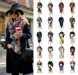 Wholesale Tartan Scarf Wholesale - Winter Scarf 2017 Tartan Cashmere Scarf Women Plaid Blanket Scarf New Designer Acrylic Basic Shawls Women's Scarves and Wraps