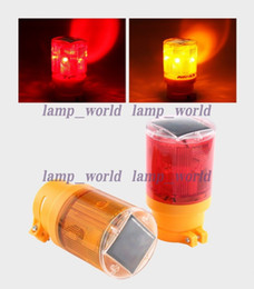 Wholesale Red Flashing Beacon Light - LED solar traffic warning light + 6 Led flashing+ light-operated for traffic,construction,airport beacon emergency warning