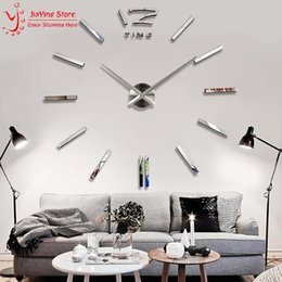 Wholesale Unique Big Watches - Wholesale- On Sales Big 3D Digital Mirror Wall Clock Modern Design Large Decorative Wall Clocks Watch Wall Hours Home Decor Unique Gift
