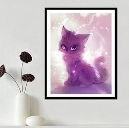 Wholesale China Diamond Tools - Spirit Cat Lovely Animal DIY 5D Diamond stitch Round 3D Diamond Stitch Tools Kit diamond mosaic Room Decor