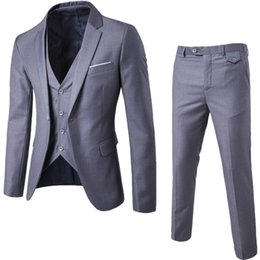 Wholesale Dark Grey Suits - 2018 New Fashion Designer Men Suit Groom Tuxedos Groomsmen Side Vent Slim Fit Best Man Suit Wedding Men's Suits Bridegroom Jacket+Pant+Vest