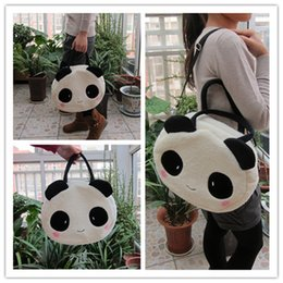 panda school bags Promo Codes - Wholesale- Super sweet 1pc 36cm cartoon plush cute happy panda middle handbags school shoulder bag children funny toy gift for girl