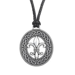 Wholesale Tibetan Jewelry Accessories Wholesale - Classic Medieval Fleur de Lis Pendant Womens Clothing Accessories Slipknot Necklace French flower LILY Pagan Tibetan Jewelry