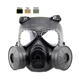 Wholesale Air Paintball - Outdoor Equipment Airsoft Paintball Shooting Full Face Tactical Anti Fog Paintball Mask with Two Air Filtration Fan