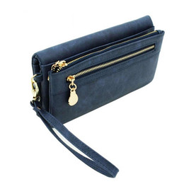 Wholesale Double Long Pillows - Fashion Women Wallets Long Dull Polish PU Leather Wallet Female Double Zipper Clutch Coin Purse Ladies Wristlet Wallet