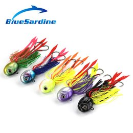 Wholesale Jig Head Octopus Lures - Bluesardine 5Pcs 80G 12Cm Metal Fishing Lures Jig Lead Head Octopus Squid Jigging Lures Fish Tackle Bait High Quality