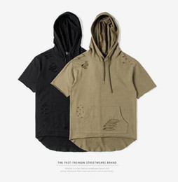 Wholesale clothing air dryer - Hood By Air Hba MenT Shirts Men Ripped Hole Loose Casual Tops Fashion Summer T-shirt Streetwear Hooded Tshirt kanye west clothes