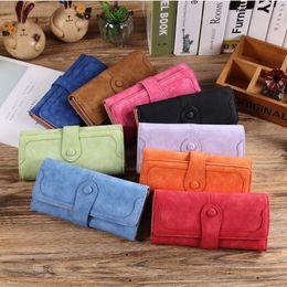 Wholesale Handbag Nubuck - Women Wallet Fashion Retro Matte nubuck Stitching Wallet Women Long Purse Clutch Women Casual Wallet Handbag Card Holder KKA2526