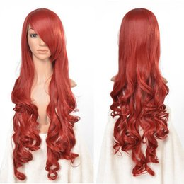 Wholesale Wavy 33 Inch Wig - Wholesale free shipping >>>>Red Long Wavy Curly Cosplay Full Wig Fashion 33 inch High Temp Wigs