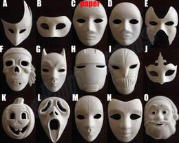 Wholesale Ghost Painting - Cartoon hand painted Halloween mask Masquerade Ghost Dance Performances Pumpkin white mask kid school draw party masks festival mask