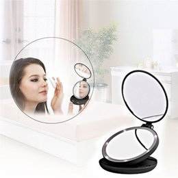 Wholesale Mirror Side Tables - Fashion Portable Folding Table LED Lamp Luminous Cosmetic Mirror Double-side Makeup Mirror with Retail Box 2805094