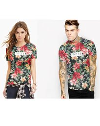 Wholesale Japanese Floral Shirts - Summer Women Suihua fashion digital printing T-shirts Couples dress Japanese style The explosion Colorful Short sleeve All-match