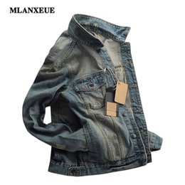 Wholesale Korean Men S Clothing - Wholesale- Men Denim Jacket Clothing Casual Mens Jacket Solid Coat Male Autumn Spring Slim Korean Version Denim jacket S-XXL