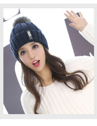 Wholesale Ladies Hats For Winter - 2017Natural Raccoon Fur Hats for Women Knitted Braid Beanie Female Caps Pompon Headgear Winter Outdoor Girl Lady Hats