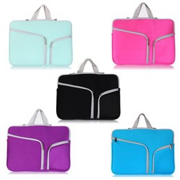 Wholesale Laptop Bags China - For Macbook Air Pro Retina Touch Bar 11.6 13.3 15.4 inch Double Pocket Fashion Laptop Soft Zipper Sleeve Bag Cases