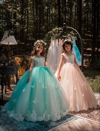 Wholesale Butterfly Christmas Lights - Princess Ball Gown Organza Flower Girl Dresses 2018 New Arrival Cap Sleeves Lace Appliqued Butterflies Kids Formal Wear Girls Pageant Dress