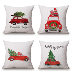 Wholesale Plum Silver Christmas Decorations - Car Driving Cushion Cover Family Present Pillow Cover Thin Linen Pillow Cases Forest Deer 45X45cm Merry Christmas Bedroom Sofa Decoration