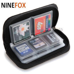 Wholesale Black Packet - 22 Card Slot packet Compartment Zipper Nylon Card Holder bag for SDHC MMC CF XD SD Memory Card Carrying Pouch bag Case Holder Wallet